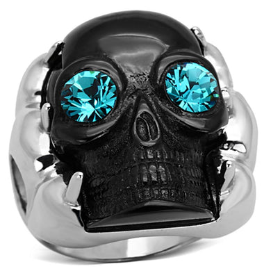 TK1118 - Two-Tone IP Black Stainless Steel Ring with Top Grade Crystal  in Blue Zircon