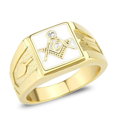 TK1159W - IP Gold(Ion Plating) Stainless Steel Ring with Top Grade Crystal  in Clear
