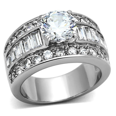 TK1232 - High polished (no plating) Stainless Steel Ring with AAA Grade CZ  in Clear