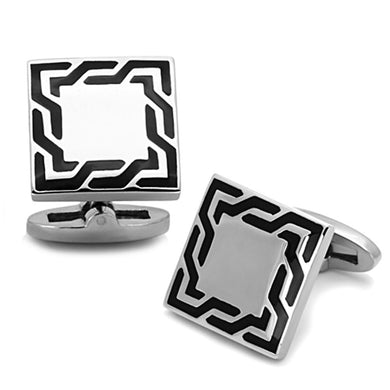 TK1248 - High polished (no plating) Stainless Steel Cufflink with Epoxy  in Jet
