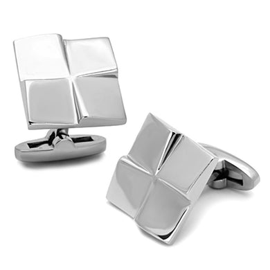 TK1250 - High polished (no plating) Stainless Steel Cufflink with No Stone