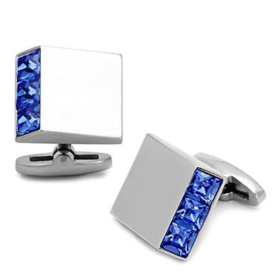 TK1251 - High polished (no plating) Stainless Steel Cufflink with Top Grade Crystal  in Sapphire