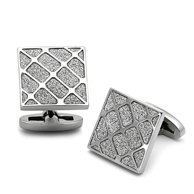 TK1252 - High polished (no plating) Stainless Steel Cufflink with No Stone