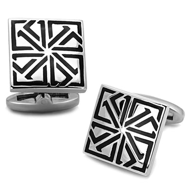 TK1253 - High polished (no plating) Stainless Steel Cufflink with Epoxy  in Jet