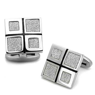 TK1255 - High polished (no plating) Stainless Steel Cufflink with Epoxy  in Jet