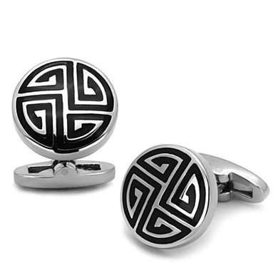 TK1257 - High polished (no plating) Stainless Steel Cufflink with Epoxy  in Jet