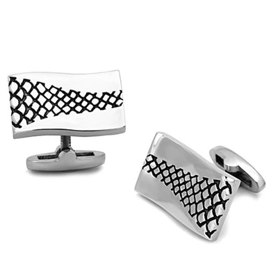 TK1260 - High polished (no plating) Stainless Steel Cufflink with Epoxy  in Jet