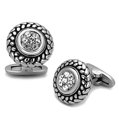 TK1261 - High polished (no plating) Stainless Steel Cufflink with Top Grade Crystal  in Clear