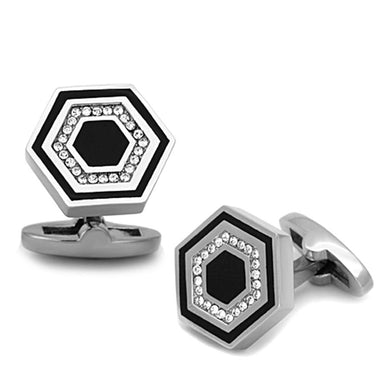 TK1262 - High polished (no plating) Stainless Steel Cufflink with Top Grade Crystal  in Clear