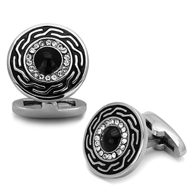 TK1264 - High polished (no plating) Stainless Steel Cufflink with Top Grade Crystal  in Clear