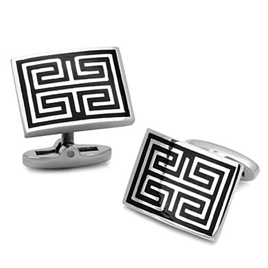 TK1265 - High polished (no plating) Stainless Steel Cufflink with Epoxy  in Jet