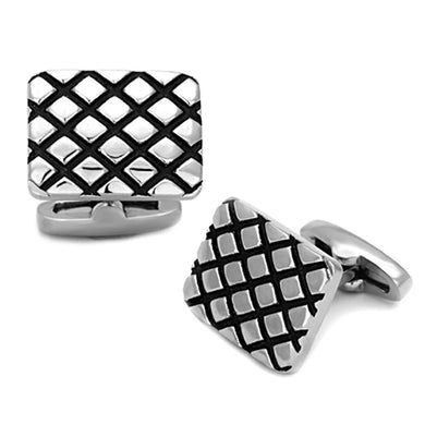 TK1266 - High polished (no plating) Stainless Steel Cufflink with Epoxy  in Jet