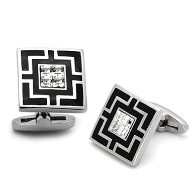 TK1267 - High polished (no plating) Stainless Steel Cufflink with Top Grade Crystal  in Clear