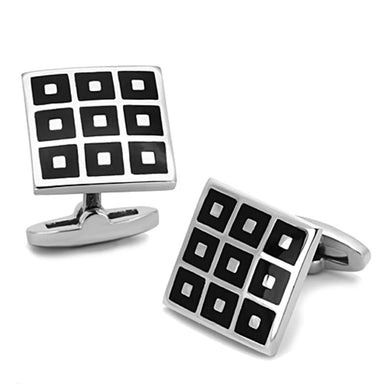 TK1268 - High polished (no plating) Stainless Steel Cufflink with Epoxy  in Jet