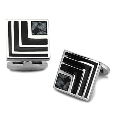 TK1269 - High polished (no plating) Stainless Steel Cufflink with Synthetic Onyx in Jet