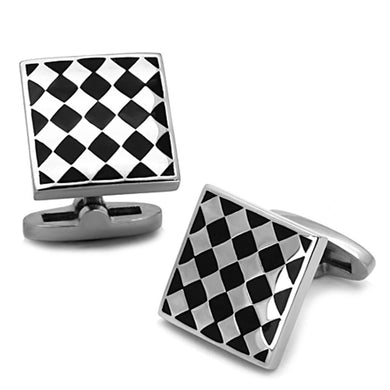 TK1270 - High polished (no plating) Stainless Steel Cufflink with Epoxy  in Jet