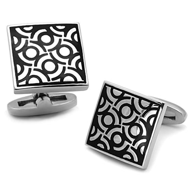 TK1271 - High polished (no plating) Stainless Steel Cufflink with Epoxy  in Jet