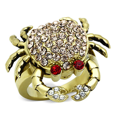 TK1290 - IP Gold(Ion Plating) Stainless Steel Ring with Top Grade Crystal  in Multi Color