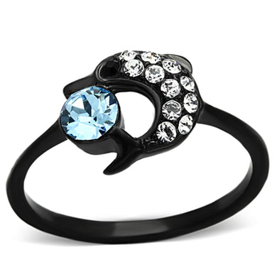 TK1302 - IP Black(Ion Plating) Stainless Steel Ring with Top Grade Crystal  in Sea Blue