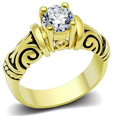 TK1377 - IP Gold(Ion Plating) Stainless Steel Ring with AAA Grade CZ  in Clear