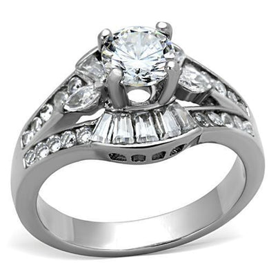TK1451 - High polished (no plating) Stainless Steel Ring with AAA Grade CZ  in Clear