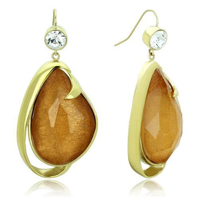 TK1483 - IP Gold(Ion Plating) Stainless Steel Earrings with Synthetic Synthetic Stone in Clear