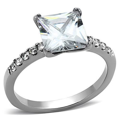 TK1486 - High polished (no plating) Stainless Steel Ring with AAA Grade CZ  in Clear
