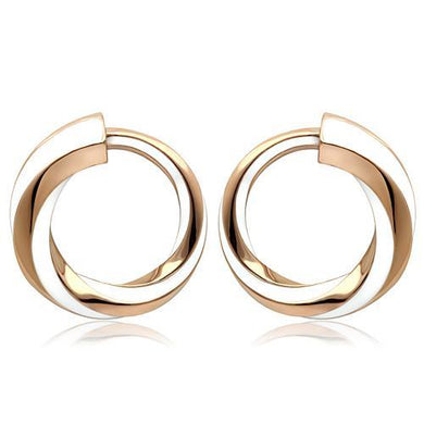 TK1488 - IP Rose Gold(Ion Plating) Stainless Steel Earrings with Epoxy  in White