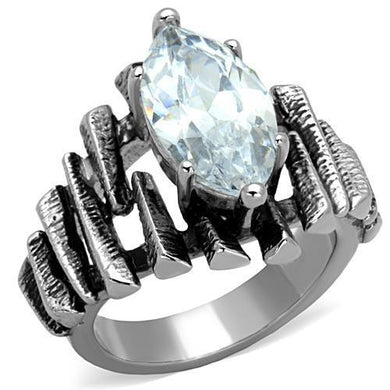 TK1516 - High polished (no plating) Stainless Steel Ring with AAA Grade CZ  in Clear