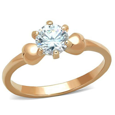 TK1596 - IP Rose Gold(Ion Plating) Stainless Steel Ring with AAA Grade CZ  in Clear