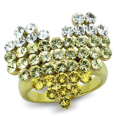 TK1642 IP Gold(Ion Plating) Stainless Steel Ring with Top Grade Crystal in Multi Color