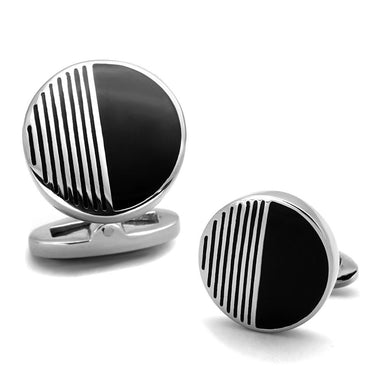TK1654 - High polished (no plating) Stainless Steel Cufflink with Epoxy  in Jet