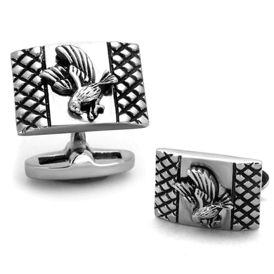 TK1655 - High polished (no plating) Stainless Steel Cufflink with No Stone