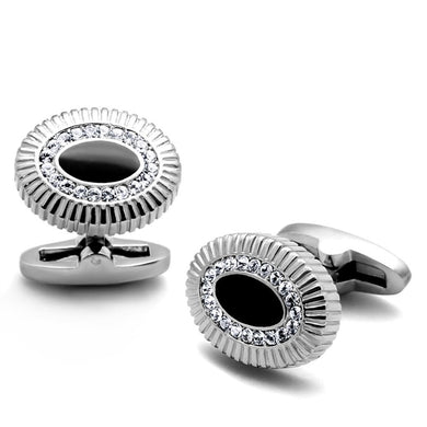 TK1656 - High polished (no plating) Stainless Steel Cufflink with Top Grade Crystal  in Clear