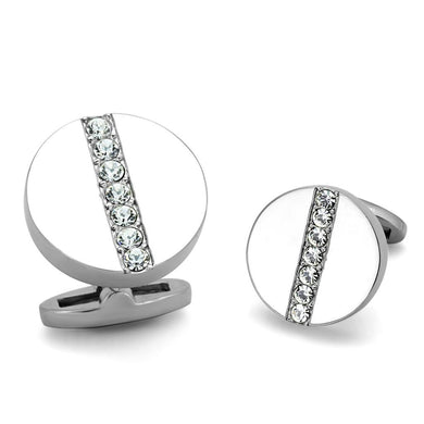 TK1657 - High polished (no plating) Stainless Steel Cufflink with Top Grade Crystal  in Clear