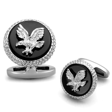 TK1658 - High polished (no plating) Stainless Steel Cufflink with Epoxy  in Jet