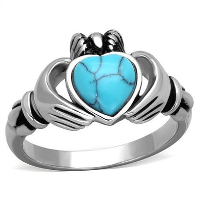 TK1770 High polished (no plating) Stainless Steel Ring with Synthetic in Sea Blue