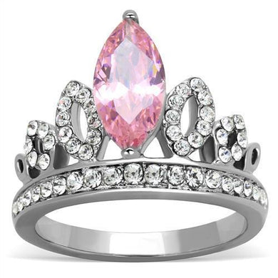 TK1771 - High polished (no plating) Stainless Steel Ring with AAA Grade CZ  in Rose
