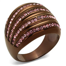 Load image into Gallery viewer, TK1789LC IP Coffee light Stainless Steel Ring with Top Grade Crystal in Light Rose