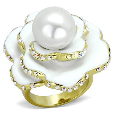 TK1847 - IP Gold(Ion Plating) Stainless Steel Ring with Synthetic Pearl in White