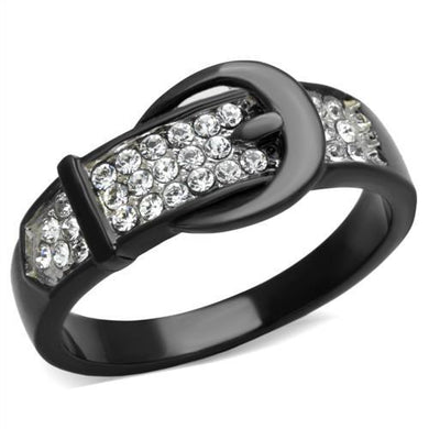 TK1868 - Two-Tone IP Black (Ion Plating) Stainless Steel Ring with Top Grade Crystal  in Clear