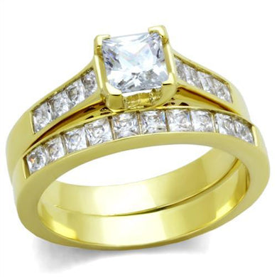 TK1895 - IP Gold(Ion Plating) Stainless Steel Ring with AAA Grade CZ  in Clear