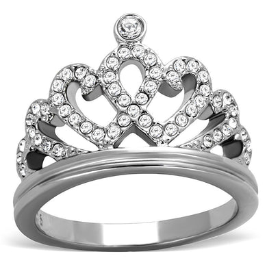 TK1923 High polished (no plating) Stainless Steel Ring with Top Grade Crystal in Clear