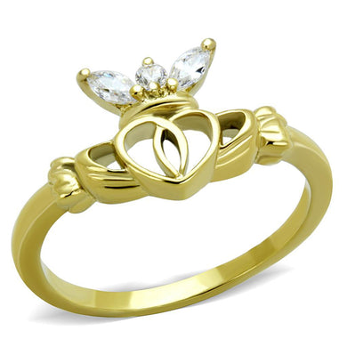 TK1926 IP Gold(Ion Plating) Stainless Steel Ring with AAA Grade CZ in Clear