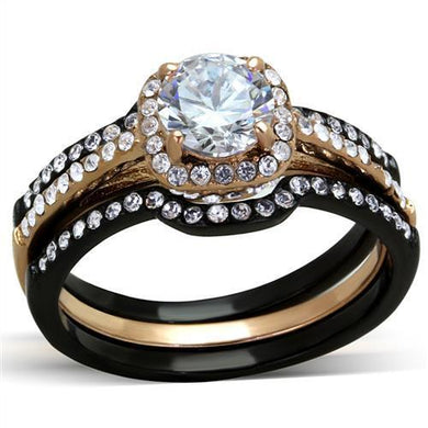 TK2020 - IP Rose Gold+ IP Black (Ion Plating) Stainless Steel Ring with AAA Grade CZ  in Clear