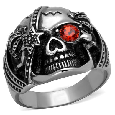 TK2061 - High polished (no plating) Stainless Steel Ring with Top Grade Crystal  in Orange