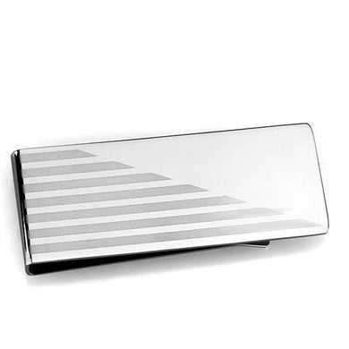 TK2077 - High polished (no plating) Stainless Steel Money clip with No Stone