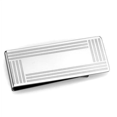 TK2078 - High polished (no plating) Stainless Steel Money clip with No Stone