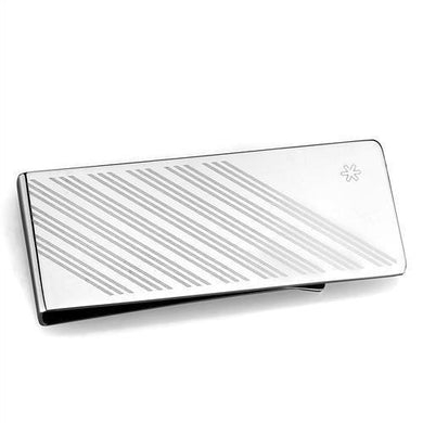TK2079 - High polished (no plating) Stainless Steel Money clip with No Stone