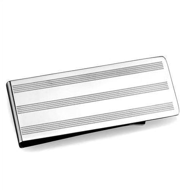 TK2081 - High polished (no plating) Stainless Steel Money clip with No Stone